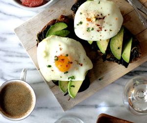 Thumbnail image for Olive Oil Poached Eggs on Avocado and Braised Kale Toast {recipe}