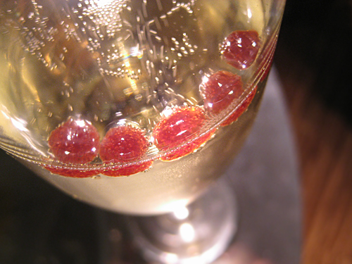 Champagne + Cassis Spheres Kir Royale