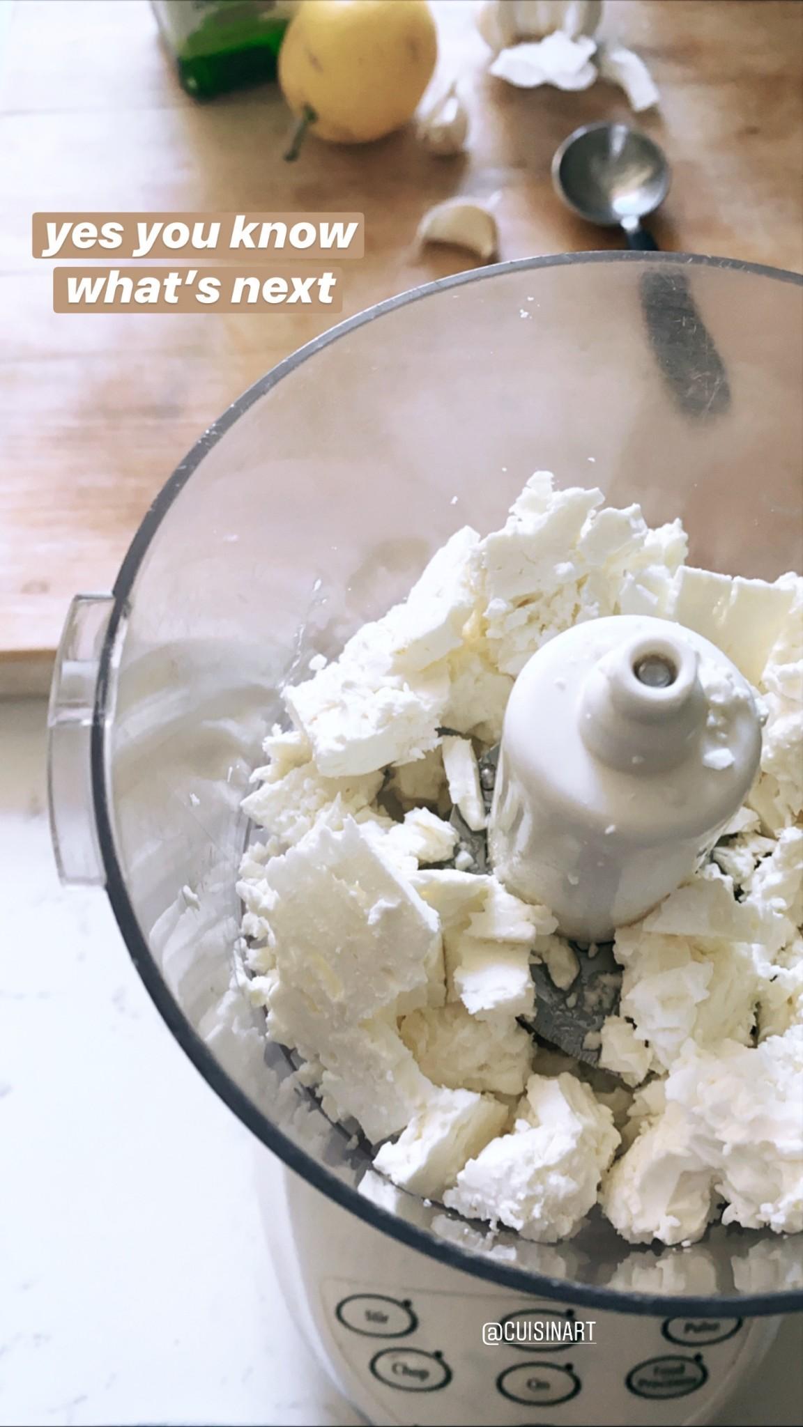 crumbled feta in food processor
