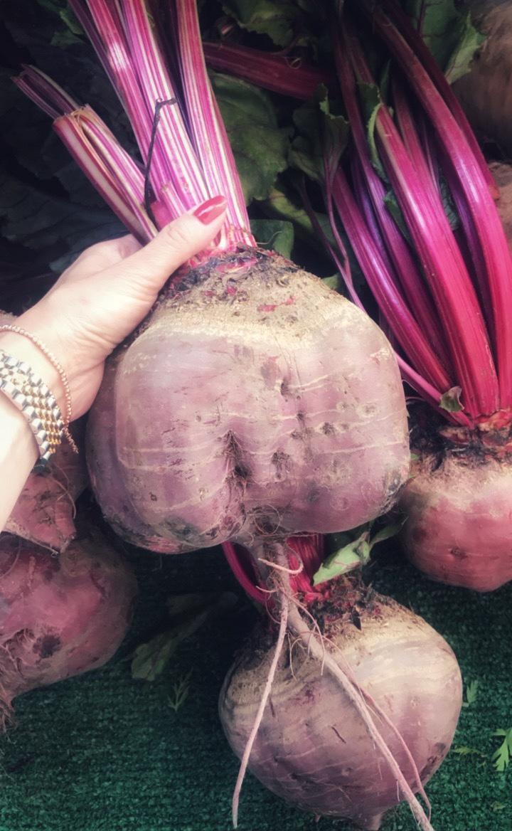 HUGE red beet, farmers arket